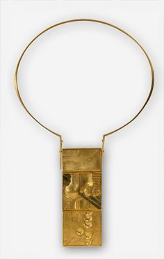 Lorenzen, Jens Rüdiger (1942), necklace, gold, silver, from the seventies. size 9.5x3.7 cm