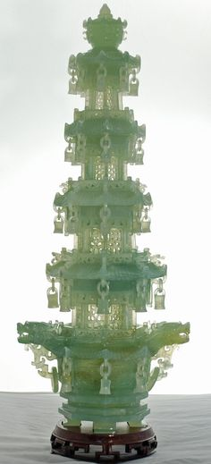 Chinese Green Jade Pagoda  What a fantastic piece of work.