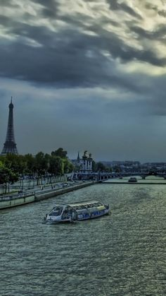 river, bank, eiffel tower, sky, evening, france, paris, hdr
