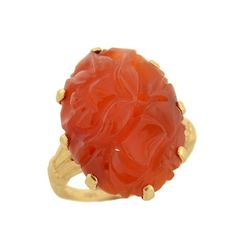 Art Deco 10kt Carved Carnelian Ring circa 1920s