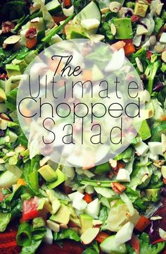 The Ultimate Chopped Salad! - 1/2 tomato, *1/4 avocado, *1 medium cucumber, *1 tablespoon no sugar added dried cranberries, *3 cups iceberg lettuce salad blend, (with cabbage and carrots) , *2 cups spinach, *1 orange bell pepper, *1 tablespoon almonds sliced, *1 tablespoon pecans chopped, *1 tablespoon Italian dressing,(or your choice of dressing) *2 large egg, and *1/4 cup green onion.