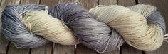 Hand Dyed Yarn - Ecru & Grey (#2)- Superwash Merino Wool, 4 ply Fingering/Sock Weight Yarn 100gr