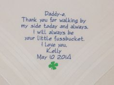 #Wedding #EmbroideredHandkerchiefs Personalized #Irish #shamrock #fourleafclovergifts for #FatheroftheBride by #NapaEmbroidery on @Etsy @The Knot