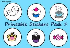 Printable Stickers Pack 1 by Aimee-Valentine-Art