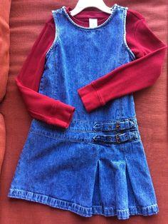 2896be7fa07b3 Gymboree Girls Red Heart Sweater Top & Cherokee Jeans Dress Size 6/6X Nice!  | eBay