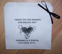 50 Vintage Heart Personalised Sweet Bags Wedding/Party Favours