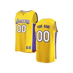 d81070341dcc8 Los Angeles Lakers Fanatics Branded Youth 2017 18 Fast Break Custom Replica  Jersey Gold -