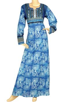 "aljalabiya.com: ""Blue-tiful"" Cotton patterned kaftan with hand embroidery and print (N-10986)  $79.00"