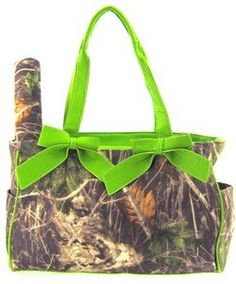 Green Camo Camouflage Tote Purse Diaper Bag with Soft Velvety Feel.