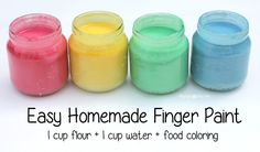 Homemade finger paint - only 3 ingredients, washable and edible! I will need it soon!