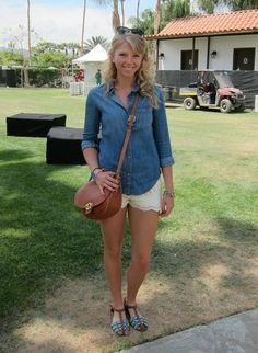 Coachella Festival Style: We like how this festivalgoer paired lace shorts with a denim shirt for a casual vibe.