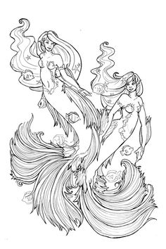 Mermaid Coloring Page IN THE BLUE By Diana Martin Mermaids