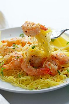 Light Shrimp Scampi with Spaghetti Squash