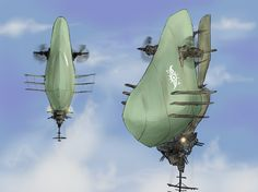 the invention of flying technology made mankind fly, at the same time, it allowed to build massive aerial fleet. Is this a ship for diffending or invading? Flying Vehicles, Army Vehicles, Zeppelin, Atlantis The Lost Empire, Flying Ship, Steampunk, Concept Ships, Mechanical Design, Aircraft Design