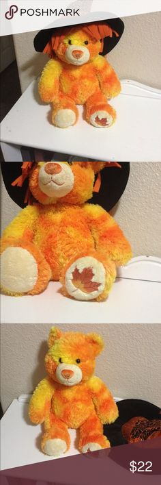 """Autumn/Fall Build-a-Bear Talks! Talking Build a Bear. Press hand. Many phrases like  """" give me a hug, what's your name?, let's go home, I'm so happy your my friend"""" comes with witch hat for Halloween! Build a Bear Other"""