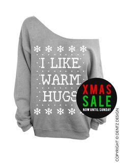 I like warm hugs Ugly Christmas Sweater Gray by DentzDesign
