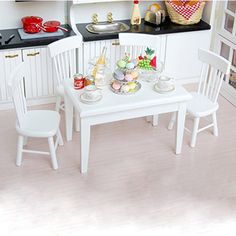 5pcs 1/12 Wooden Kitchen Dining Table Chair Set Barbie Dollhouse Furniture White | Dolls & Bears, Dolls, Barbie Contemporary (1973-Now) | eBay!