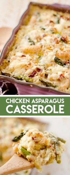 Recipes Chicken Light Asparagus, Chicken Quinoa Bake is healthy and flavorful dinner made with leeks, bacon and sharp white cheddar cheese. This Chicken Asparagus Casserole is an easy recipe the whole family will love! Asparagus Casserole, Asparagus Recipe, Chicken Asparagus Bake, Queso Cheddar, Cheddar Cheese, Fun Easy Recipes, Easy Meals, Bacon Dinner Recipes, Healthy Casserole Recipes