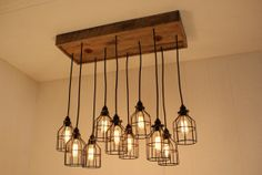 Cage Light Chandelier - Cage Lighting - Industrial Lighting - Edison Bulbs - Upcycled Wood on Etsy, $506.85 CAD
