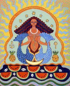 """Yemoja is the Yoruba Orisha or Goddess of the living Ocean, considered the Mother of All.   She is the source of all the waters, including the rivers of Western Africa, especially the River Ogun. Her name is a contraction of Yey Omo Eja, which means """"Mother Whose Children are the Fish"""". Casa Poderosa Dos Filhos de Yemanjá: Agosto 2014"""