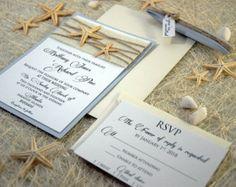 Beach Wedding Invitation Card Custom Invitations Embossed