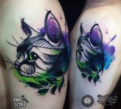 Watercolor Cat Tattoo by Ewa Sroka- | Cats by Patricia