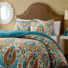Bring cosmopolitan charm to your master suite or guest room with this eye-catching duvet set, crafted of cotton and showcasing a scrolling damask-inspired mo...