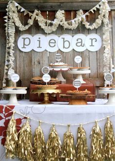 Adorable Pie bar.  Adorable idea for instead of cupcakes?  Maybe family members and friends could contribute one pie?