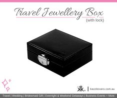 Kazzi Kovers compact Travel Jewellery Box (with lock) fits into your carry-on, suitcase, tote bag, handbag or hotel safe. It is ideal for securing and protecting your valuables, including your jewellery; like your rings, earrings, bracelets and necklaces and finer pieces.  Made from medium density fibreboard (MDF), it is stronger and more durable than regular cardboard jewellery boxes. Ideal for travel or as a gift for bridesmaids, friends and family.  Available in Black, Pink, Blue or…