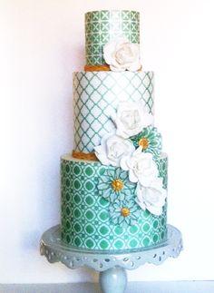 we ❤ this!  moncheribridals.com   #weddingcake #greenandwhiteweddingcake