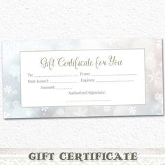 Printable Gift Certificate Snowflakes Silver by DigitalDesignPaper