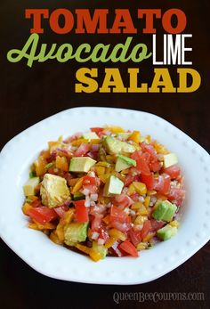 Tomato and Avocado Lime Salad - Recipe with tomato, avocado, lime, red onion, yellow pepper, balsamic vinegar, olive oil, salt and pepper