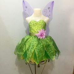 Check the transparent halter Tinkerbell Costume Toddler, Tinkerbell Party Theme, Tinkerbell Shoes, Fairy Birthday Party, Costume Halloween, Halloween Costumes For Girls, Carnival Costumes, Baby Costumes, Peter Pan Costumes