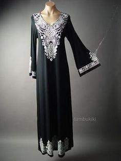 Caftan Style Bell Sleeve Moroccan Design Long Maxi 124 mv Dress S M L XL 2XL 3XL