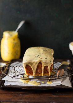passion fruit curd loaf cake - drizzle and dip Baking Recipes, Cake Recipes, Dessert Recipes, Pasta Recipes, Chocolates, Passion Fruit Cake, Passionfruit Recipes, Loaf Cake, Let Them Eat Cake