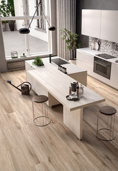 Modern kitchen ideas for your home, apartmen in and - A Kitchen Room Design, Modern Kitchen Design, Kitchen Layout, Home Decor Kitchen, Interior Design Kitchen, Kitchen Furniture, Home Kitchens, Küchen Design, House Design