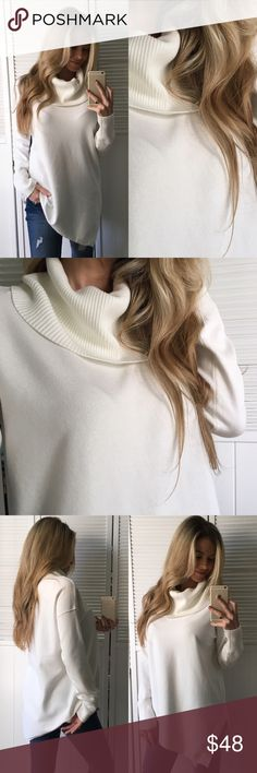 """✨Sale • Beautiful Ivory Cowl Neck Sweater Such a pretty, classy, sophisticated piece for the Fall & Winter. Asymmetrical to the right side with a small side slit, very soft & cozy, solid not sheer, exposed seams, stretchy, & Ribbed detailing on neckline and at the writs. Available in 4 colors, Each listing separately.   •Modeling: Medium •Fit: See Comments Below •Material: 72% Rayon• 28% Poly  Please use """"Self Checkout"""" if you aren't an Established Customer. Thank You 🙏🏼 Sweaters Cowl…"""