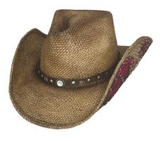 This Western Inspiration hat is made of Genuine Panama Straw. It features beautiful pink accents outlined by a pair of wings on both sides of hat. It has a decorative hatband that sets off the hat. Br