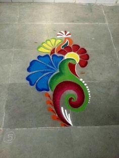 These New Year rangoli designs may not be as detailed as Sankranti rangoli designs or Diwali rangoli or even the themed ones like Ganesh rangoli, and so on. Easy Rangoli Designs Diwali, Rangoli Simple, Rangoli Designs Latest, Simple Rangoli Designs Images, Rangoli Designs Flower, Free Hand Rangoli Design, Rangoli Border Designs, Small Rangoli Design, Rangoli Patterns