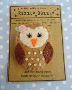 Owl Felt Brooch - Embroidered Brown Bird  $14