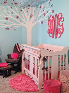 Pink and Aqua Monogram Nursery - Project Nursery | Project Nursery