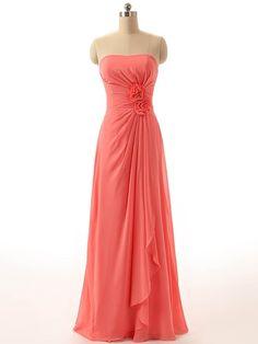 Strapless Chiffon Floor-length Flower(s) Watermelon New Bridesmaid Dresses - dressesofgirl.com
