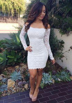 White Floral Lace Boat Neck Long Sleeve Fashion Mini Dress