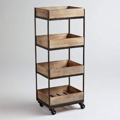 $150 One of my favorite discoveries at WorldMarket.com: 4-Shelf Wooden Gavin Rolling Cart