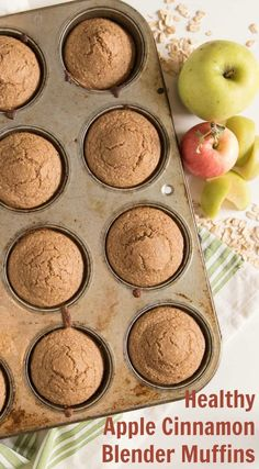 Healthy Apple Cinnamon Muffins that are made in the blender! Made with whole grain oats, apple sauce, maple syrup, and other wholesome ingredients.