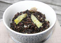 Quésako le quinotto ? Me dites vous. C'est un quinoa cuit façon risotto.   Ici un quinoa noir, oui parce qu'il y en a du blond (le ...