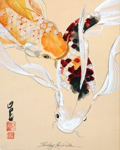 Two Playful Butterfly Koi Fishes by shirleypuwills on Etsy,