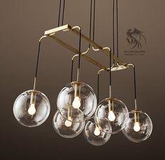 Linear Chandelier, Pendant Lighting, Glass Globe, Ceiling Lights, Office Ideas, Bb, Villa, Pendants, Dining