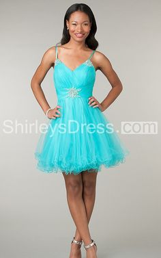 Gorgeous V-neck Short Gown with Spaghetti Straps and