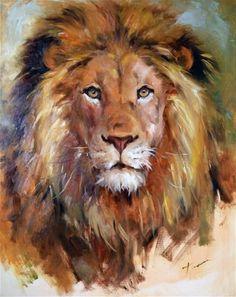 "Daily Paintworks - ""Lion"" - Original Fine Art for Sale - © Teresa Yoo - Kunst: Tiere - Animals in Art - Katzen / Cat Animal Paintings, Animal Drawings, Art Drawings, Watercolor Animals, Watercolor Art, Art Prophétique, Lion Painting, Family Painting, Painting Canvas"
